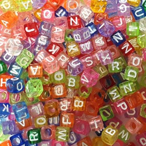 Buchstaben Würfel Acryl bunt mit weißen Buchstaben 6x6mm Großloch mix 300Stk.