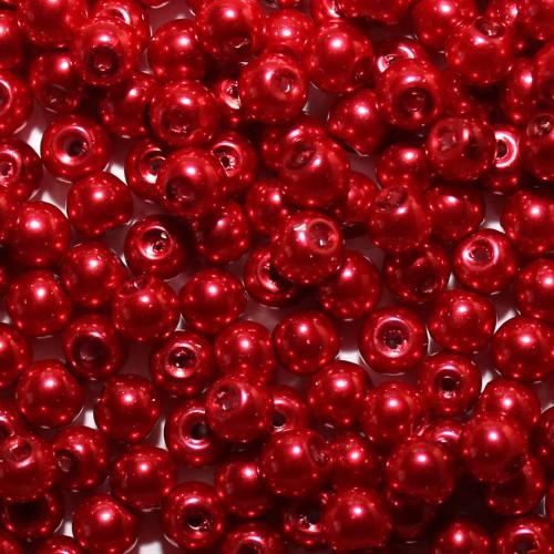 Glasperle Wachsperle Kugel glatt dunkel - rot glänzend 6mm 60Stk.