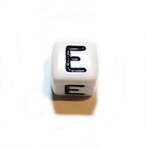 Buchstaben einzeln Würfel Acryl weiß 10x10mm Großloch 1 Stk.