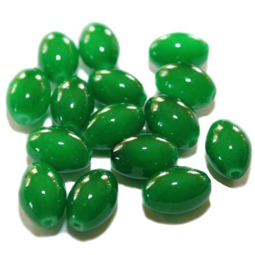Glasperle Oval glatt grün 15x10mm 15Stk.