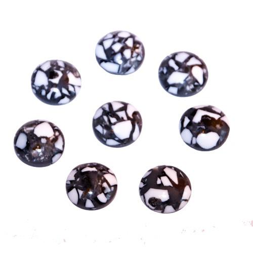 Cabochon Harz grau weiß schwarz Töne 16mm 8 Stück