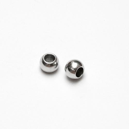 Metallperle Kugel glatt silber Großloch 12x8,5mm 5Stk.