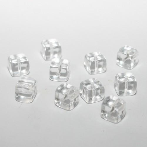 Glasperle Würfel glatt transparent 8x7mm 10Stk.