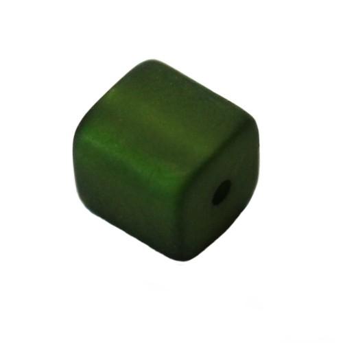 Polaris Perle Würfel matt moos-grün 10x10mm 1 Stk.
