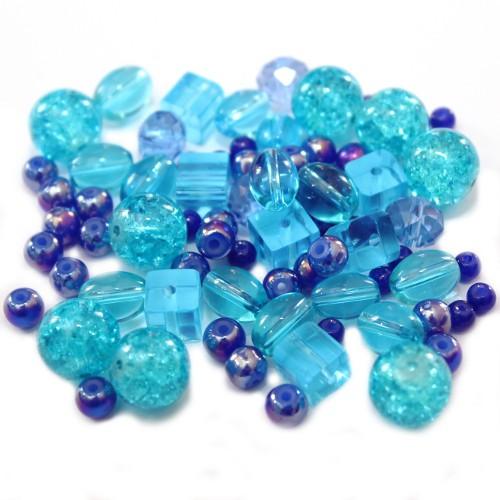 Glasperlen Mix 1 Farbton Blau 50 g