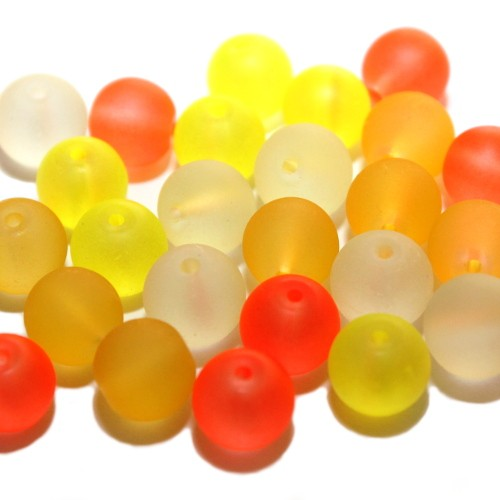 Glasperle Kugel matt gefrostet mix gelb/orange Töne 10mm 25Stk. 4 Farben