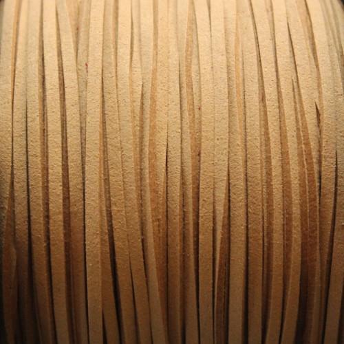 Wildlederimitat weich flach 3x1,5mm Microfaser hell beige 5 m lang
