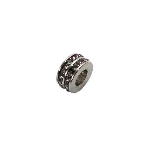 Edelstahl Charms Rondelle silber Strass anthrazit 10x5mm 1Stk.