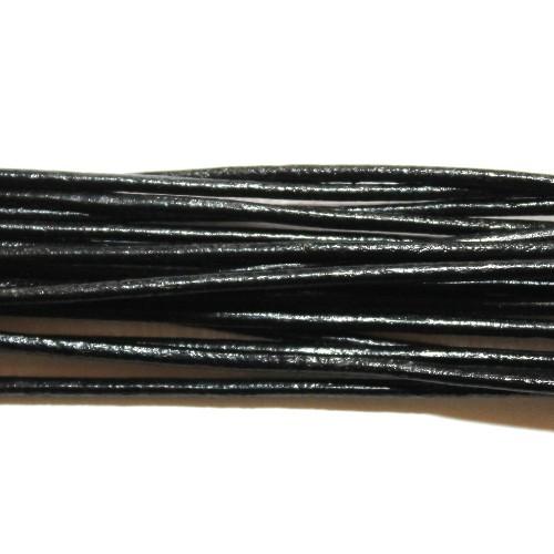 Lederband echt Leder glatt schwarz 2mm 2m lang
