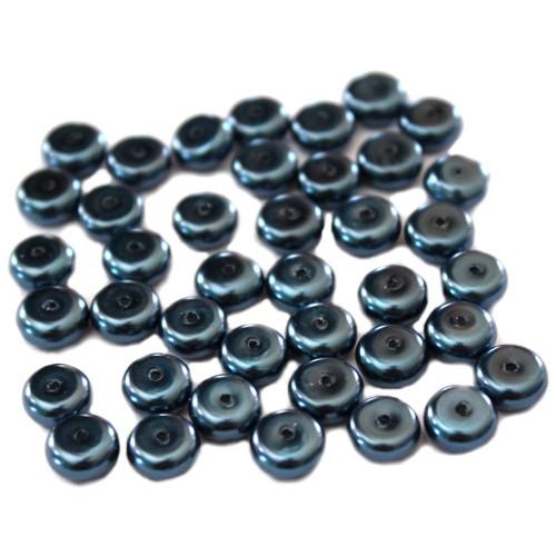Glasperle Wachsperle Scheibe dunkel blau 8x4mm 40Stk.