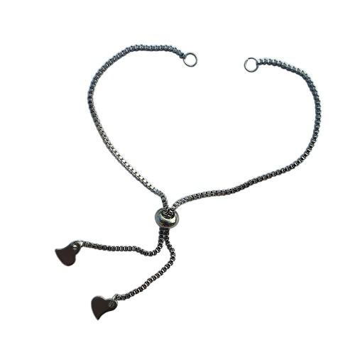 Armband für Verbinder mit Slider Stopper Edelstahl silber zart 1,2mm