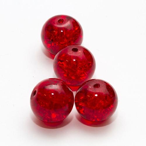 Glasperle Crackle Kugel glatt rot 12mm 10Stk.