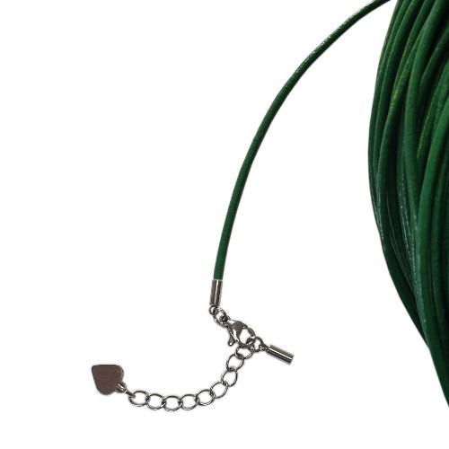 Hals/Arm Band Leder grün 2mm 54cm kürzbar inkl. Ketterl Edelstahl 1Stk.