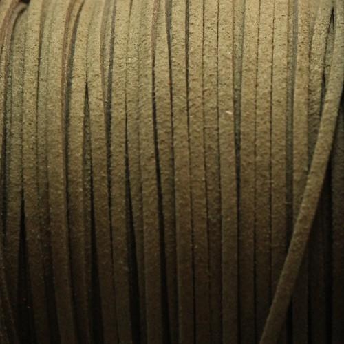 Wildlederimitat weich flach 3x1,5mm Microfaser moos grün 5 m lang