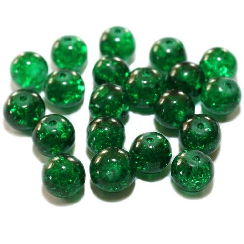Glasperle Crackle Kugel glatt grün 10mm 20Stk.