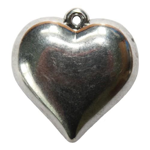 Acrylperle in Metalloptik Anhänger Herz Tracht groß silber 47x4mm 1Stk.