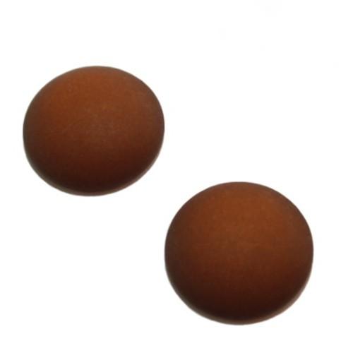Cabochon Polaris rund flach matt dunkel - braun 20mm 2 Stück