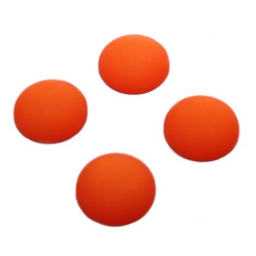 Cabochon Polaris rund flach matt orange 14mm 4 Stück