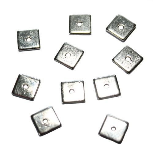 Metallperle Rechteck Scheibe flach Antiksilber 6x6mm 8Stk.