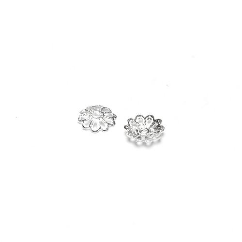 Metallperle Endkappe Perlenkappe Blume versilbert 8,5x1,5mm 100Stk.