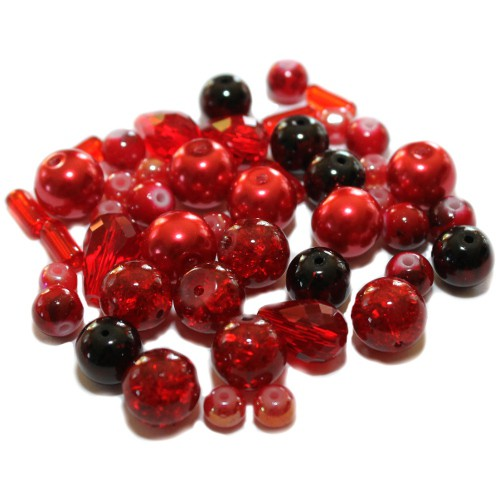Glasperlen Mix Nr. 1 Farbton Rot 50 g