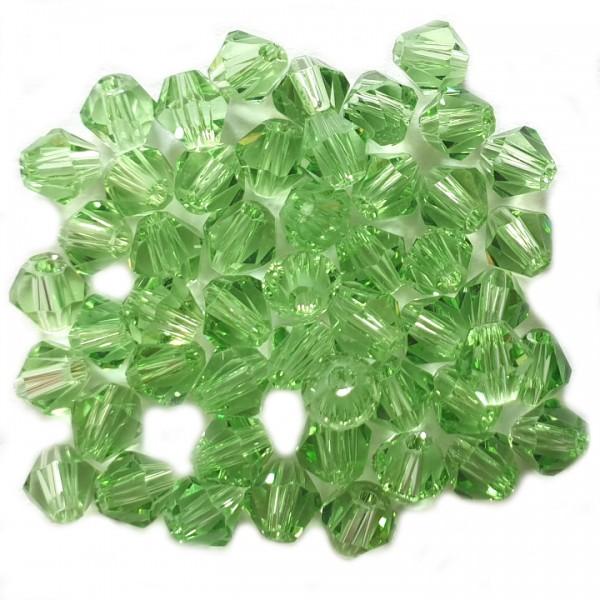 Glasperle Kristallglas Rhombe Bicone Doppelkegel facettiert hell grün glänzend 4x4mm 50Stk.
