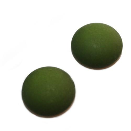 Cabochon Polaris rund flach matt moos grün 25mm 2 Stück