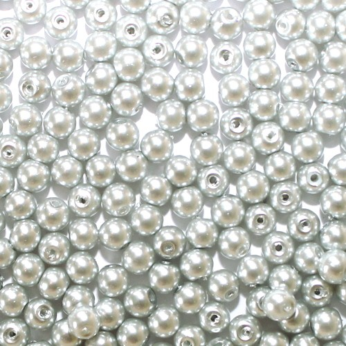 Glasperle Kugel glatt silber grau glänzend 6mm 60Stk.