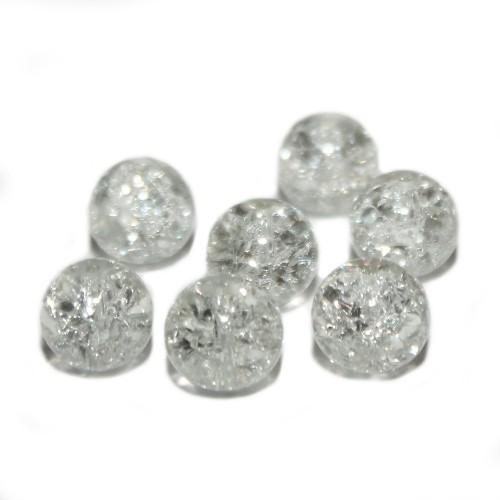 Glasperle Crackle Kugel glatt weiß 12mm 10Stk.