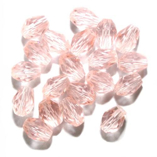 Kristall Glas Tropfen rosa 7 x 5 mm 20Stk.