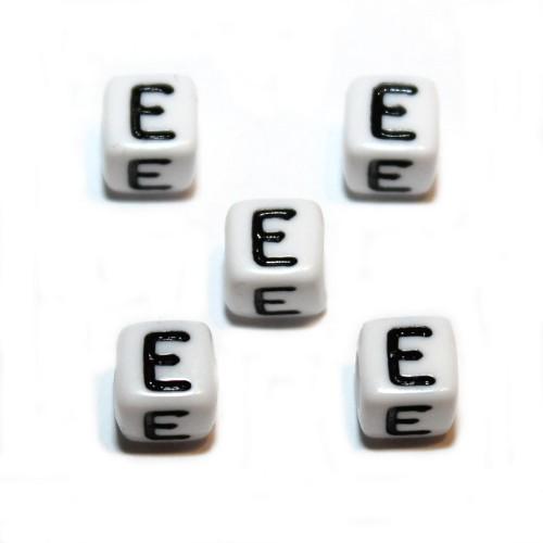 Buchstaben einzeln Würfel Acryl weiß 6x6mm Großloch 5 Stk.
