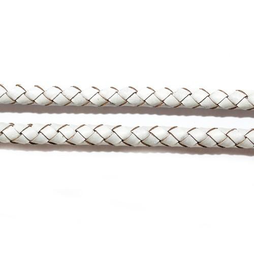 Lederband echt Leder glatt geflochten weiß 5mm 1m lang