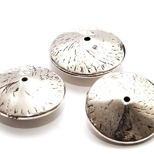 Acrylperle in Metalloptik Spacer Teller groß rund silber 21mm 6Stk.