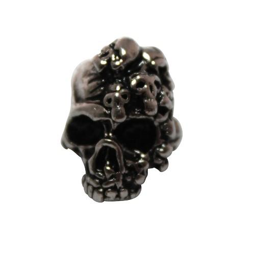 Metallperle Schädel Totenkopf Skull Großloch antiksilber groß 18x14mm 1Stk.