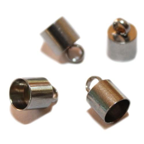 Metallperle Edelstahl Endkappe mit Öse Großloch silber 10x6,5mm 4Stk.