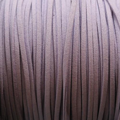 Wildlederimitat weich flach 3x1,5mm Microfaser hell flieder 5 m lang