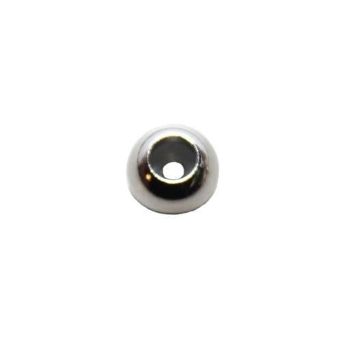 Edelstahl Metallperle Slider Stopper Perle mit Silikonkern Kugel silber 8mm 1Stk.