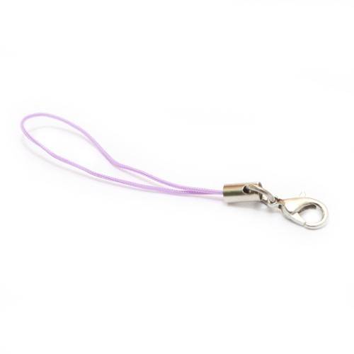 Handyschlaufen Handyschnur Handyanhänger Nylonfaden violett mit Karabiner 20 Stk. 70mm lang