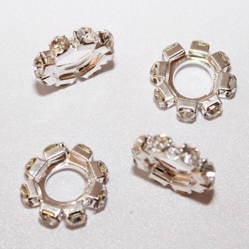Metallperle Spacer Rondelle Ring mit Strass versilbert 18x4mm 2Stk.