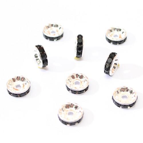 Metallperle Spacer Rondelle versilbert mit Strass schwarz 8mm 10Stk.