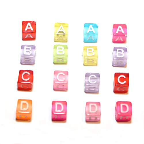 Buchstaben Würfel Acryl bunt mit weißen Buchstaben 6x6mm Großloch 6x26=156Stk.