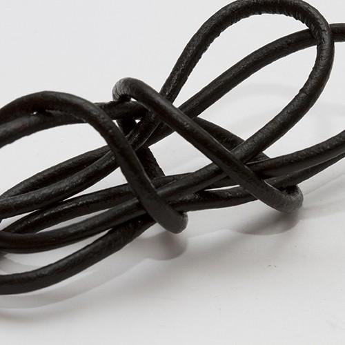 Lederband echt Leder glatt schwarz 2,5mm 2m lang
