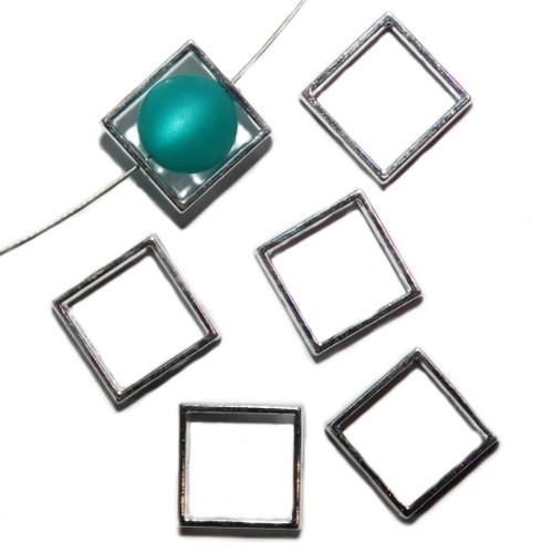 Metallperle Perlen Rahmen versilbert 20x20mm 6Stk.
