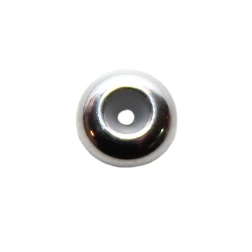 Edelstahl Metallperle Slider Stopper Perle mit Silikonkern Rondelle silber 7x3,5mm 1Stk.