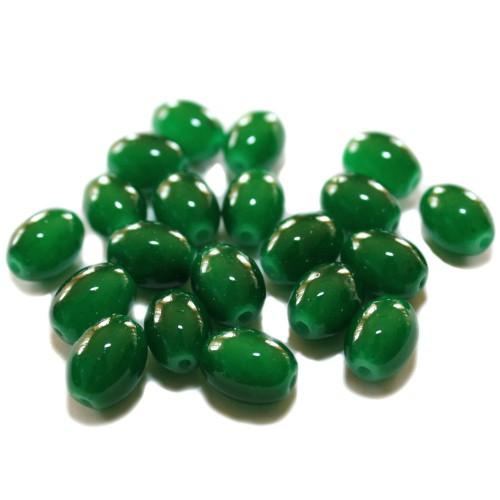 Glasperle Oval glatt grün 11x8mm 20Stk.