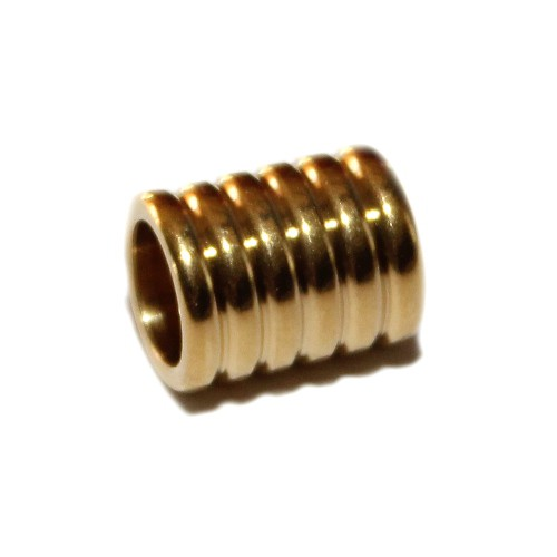 Metallperle Edelstahl Tube Muster gold Großloch 11x8,5mm 1Stk.