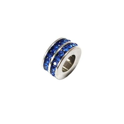 Edelstahl Charms Rondelle silber Strass blitz blau 10x5mm 1Stk.