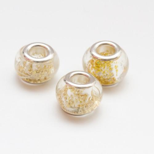 Charms Murano Glas Goldgelb 13x10mm 2Stk.