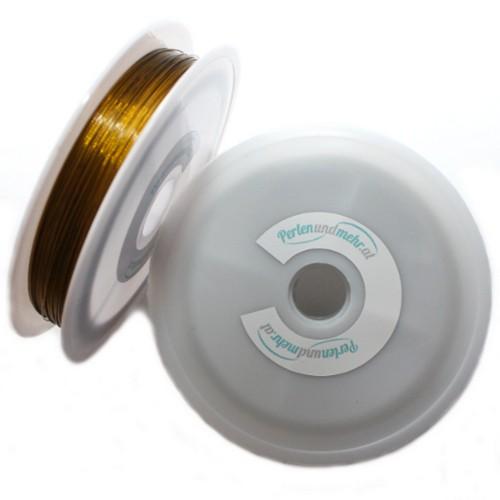 Stahldraht Nylonummantelt Stahlseide gold 0,38mm 80m lang