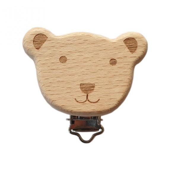 Buchen Holz Schnullerkette Clip Katze braun 1Stk.